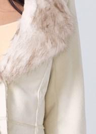 Alternate View Shearling Faux Trim Coat