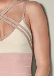 Detail front view Bandage Color Block Dress