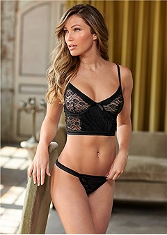 satin lace bra/thong set