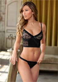 Front View Satin Lace Bra/Thong Set