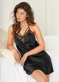 Front View Satin Lace Chemise
