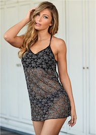 Cropped front view Strappy Back Lace Chemise