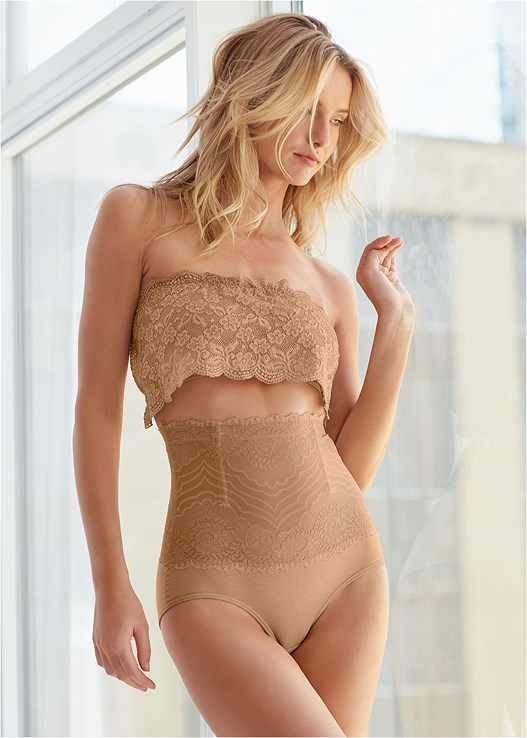 2PK LACE SHAPING BRIEF,NATURAL BEAUTY LACE BANDEAU