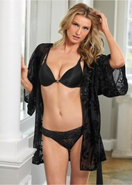 Cropped front view Velvet Floral Mesh Robe