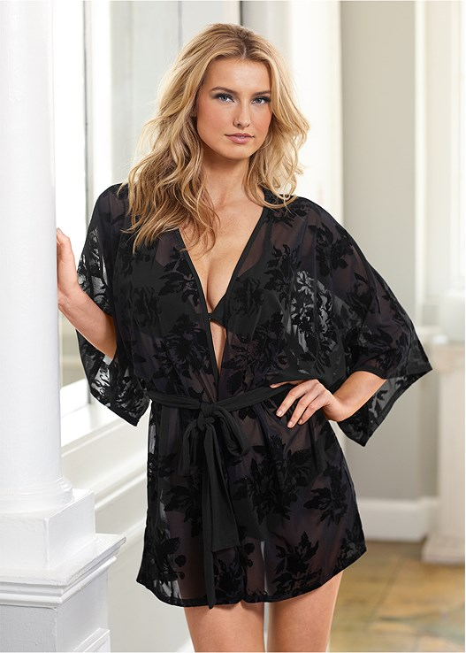 VELVET FLORAL MESH ROBE,PUSH UP BRA BUY 2 FOR $40