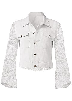 plus size lace sleeve cropped jacket