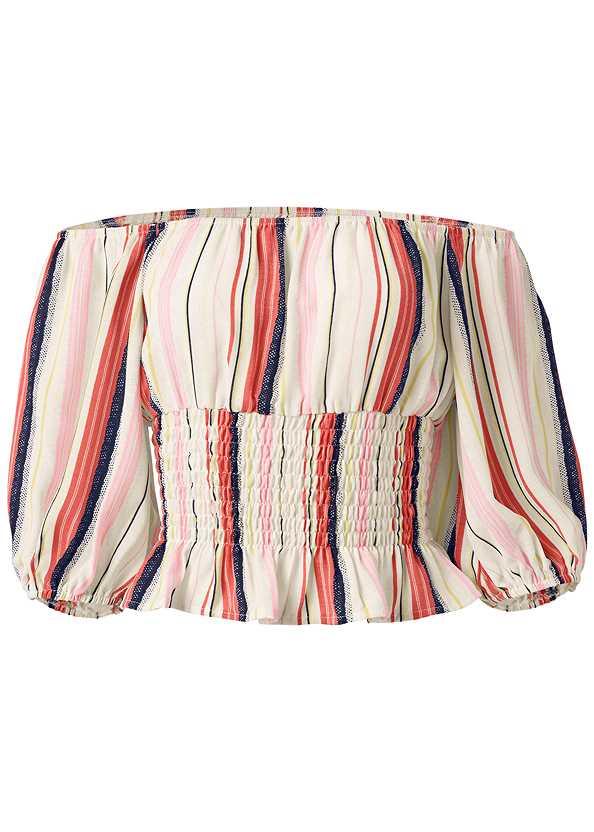 Off The Shoulder Stripe Top,Ripped Capri Jeans,Triangle Hem Jeans,Tassel Detail Hoop Earrings