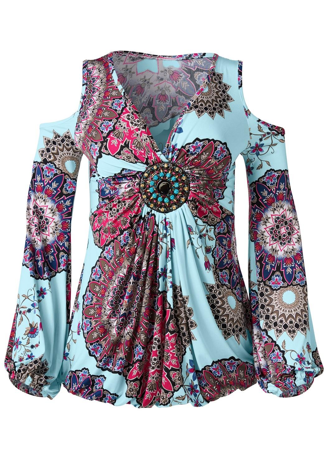 Cold Shoulder Print Top,Mid Rise Color Skinny Jeans,Embellished Lucite Heel