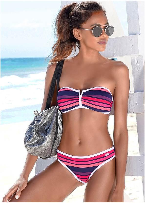 Bandeau Bikini Top,Scoop Front Bikini Bottom,Strappy Side Low Rise Bottom,Santa Cruz Hipster Bottom,Deep V Cover-Up Beach Dress