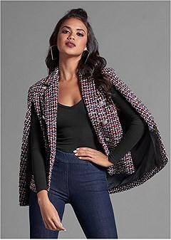 printed cape blazer