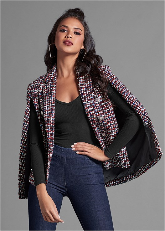 PRINTED CAPE BLAZER,RIBBED V-NECK TOP,SLIMMING STRETCH JEGGINGS