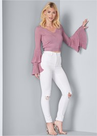 Full front view Tiered Sleeve Sweater