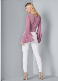Full back view Tiered Sleeve Sweater