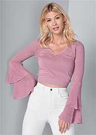 Cropped front view Tiered Sleeve Sweater