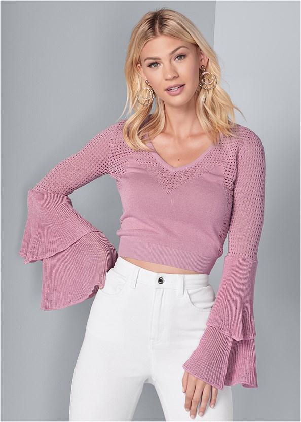 Tiered Sleeve Sweater,Basic Cami Two Pack,Lucite Detail Print Heels,Beaded Hoop Earrings