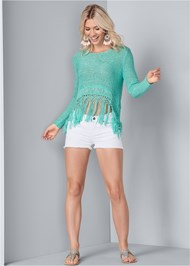 Full front view Fringe Open Knit Sweater