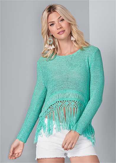 Fringe Open Knit Sweater