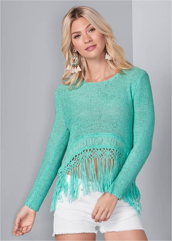 Fringe Open Knit Sweater,Frayed Cut Off Jean Shorts,Multi Print Demi Bra