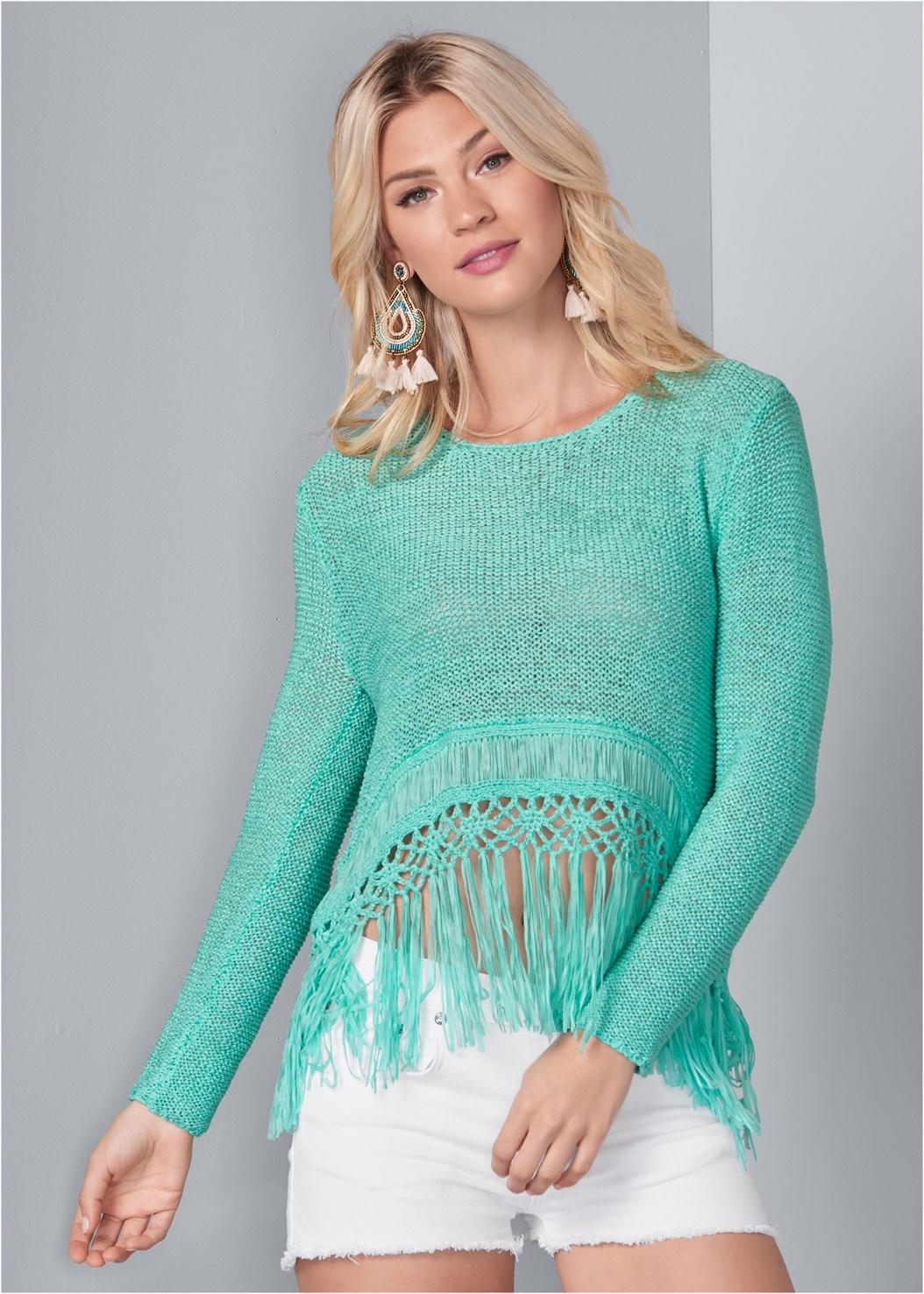 Fringe Open Knit Sweater,Everyday You Strapless Bra,Frayed Cut Off Jean Shorts,Multi Print Demi Bra,Multi Print Thong