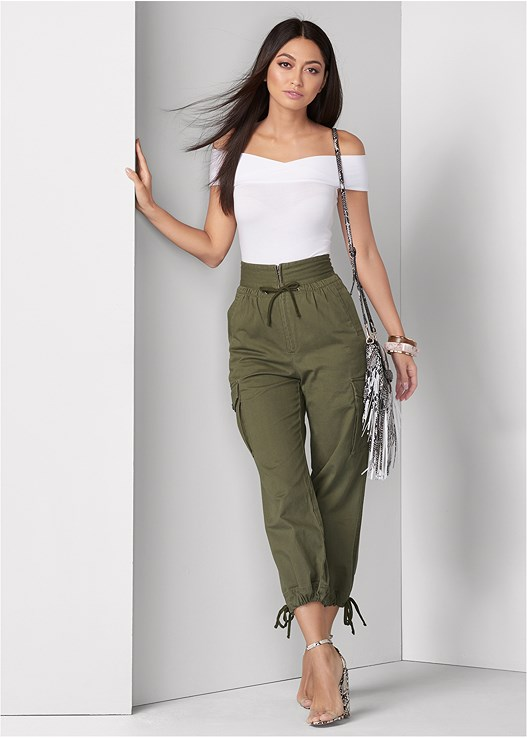 HIGH WAISTED CARGO PANTS,OFF THE SHOULDER BODYSUIT,SMOCKED FLORAL PRINT BLOUSE,EMBROIDERED SHEER HIPSTER,LUCITE DETAIL PRINT HEELS,BUCKLE DETAIL HEELS,TASSEL DETAIL HOOP EARRINGS,MIXED MEDIA BANGLE SET,FRINGE CROSSBODY