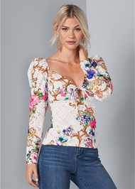 Cropped front view Puff Sleeve Lace Blouse