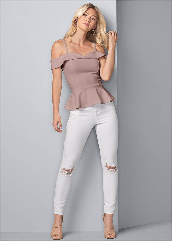 Full front view Cold Shoulder Peplum Top