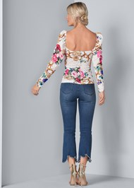 Back View Puff Sleeve Lace Blouse
