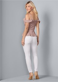 Back View Cold Shoulder Peplum Top