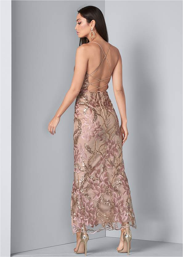 Full back view Sequin Floral Gown