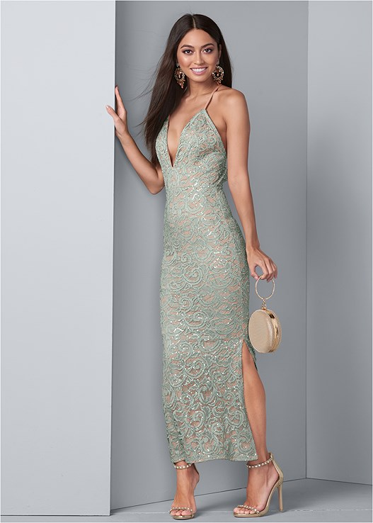 SEQUIN AND LACE GOWN,LIFT IT UP BACKLESS AND STRAPLESS PLUNGE,EMBELLISHED HEELS,CHANDELIER EARRINGS,RING HANDLE CIRCLE CLUTCH