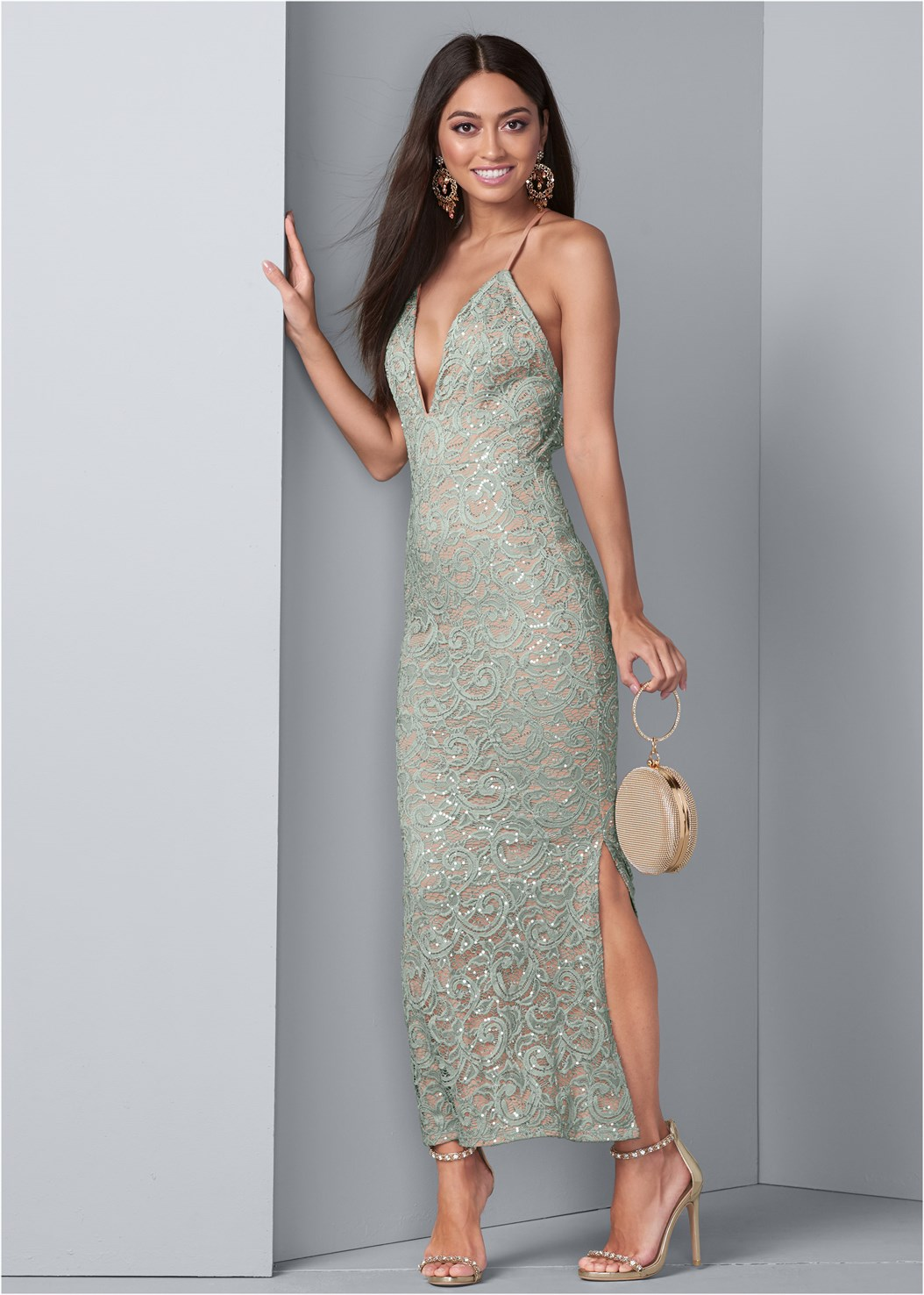 Sequin And Lace Gown,Lift It Up Backless And Strapless Plunge,Embellished Heels,Ring Handle Circle Clutch