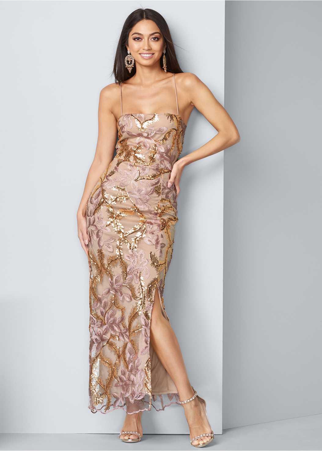 Sequin Floral Gown,Embellished Heels