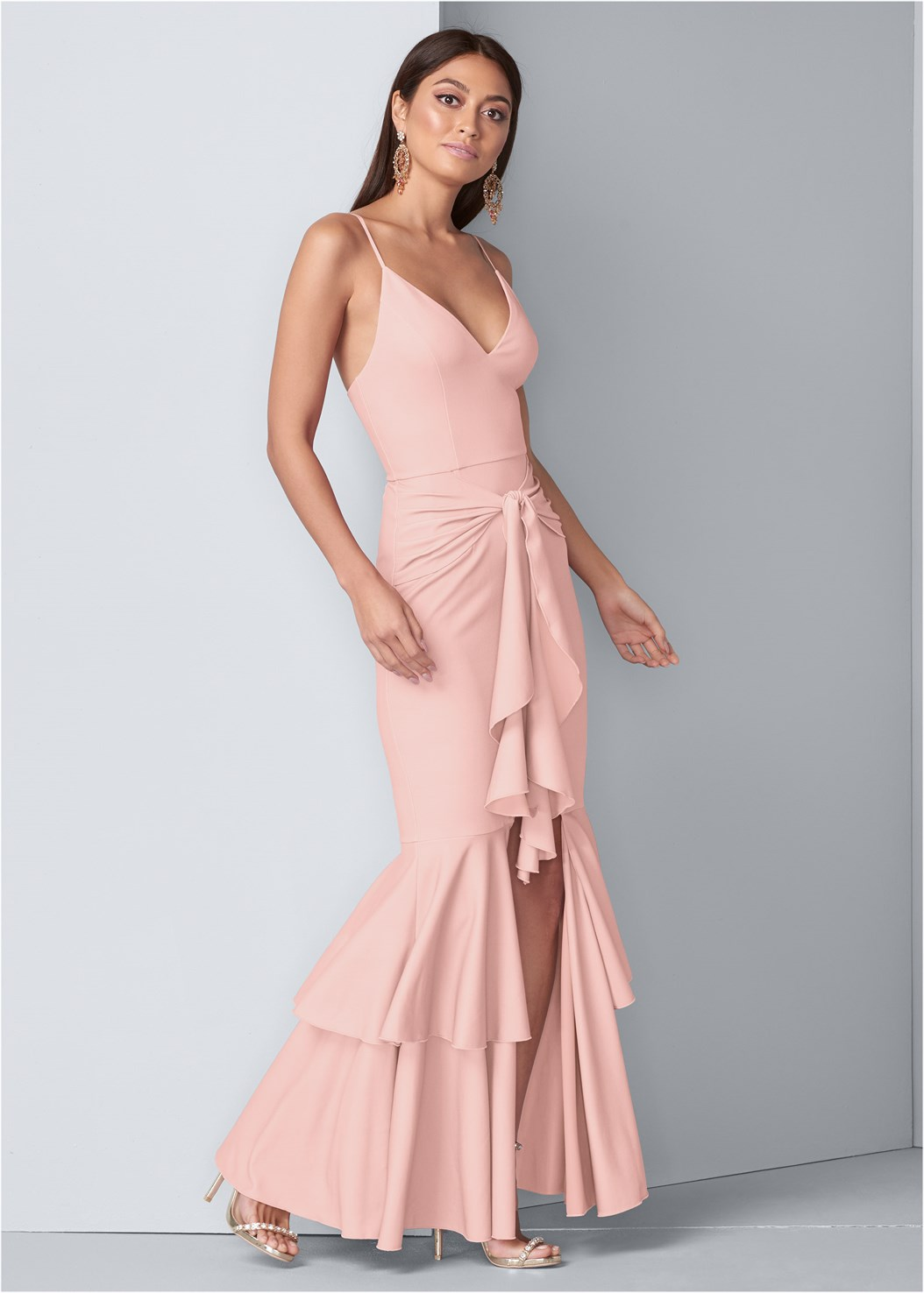 Ruffle Detail Gown,Seamless Full Body Shaper,Embellished Heels,Chandelier Earrings