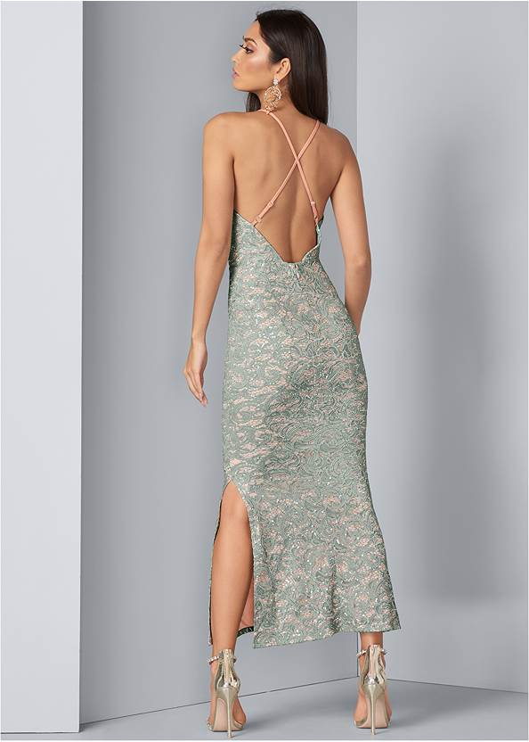 Alternate View Sequin And Lace Gown