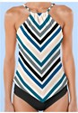 Detail front view Hanky Hem High Neck Tankini