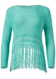 Alternate View Fringe Open Knit Sweater