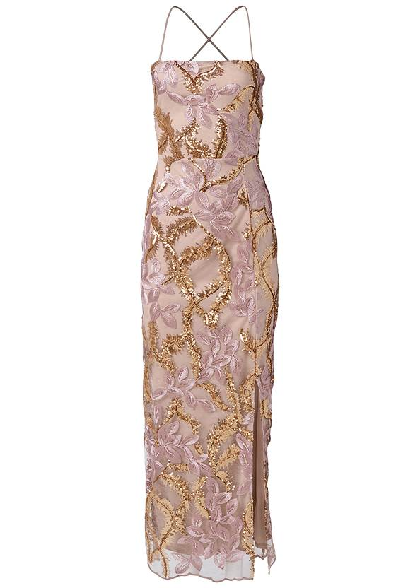 Alternate View Sequin Floral Gown