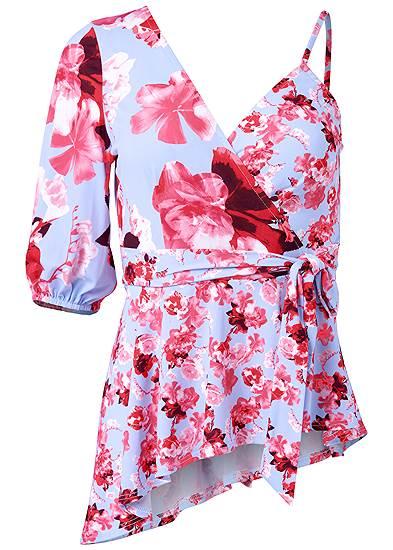 Plus Size One Shoulder Floral Top