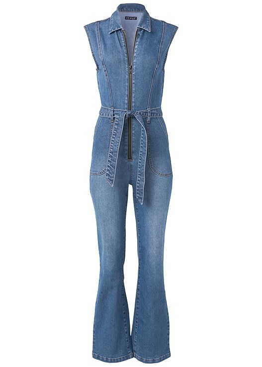 DENIM JUMPSUIT,LUCITE DETAIL PRINT HEELS,FRINGE CROSSBODY