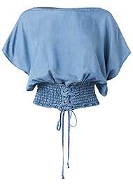 Ghost  view Tie Front Chambray Top