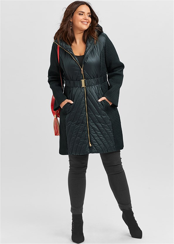 Long Puffer Coat,Basic Cami Two Pack,Mid Rise Slimming Stretch Jeggings,Stud Detail Crossbody