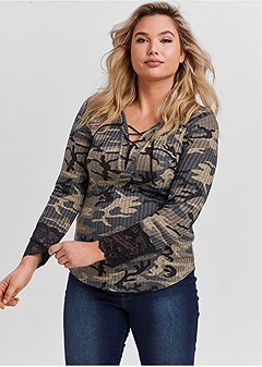 plus size lace detail camo top