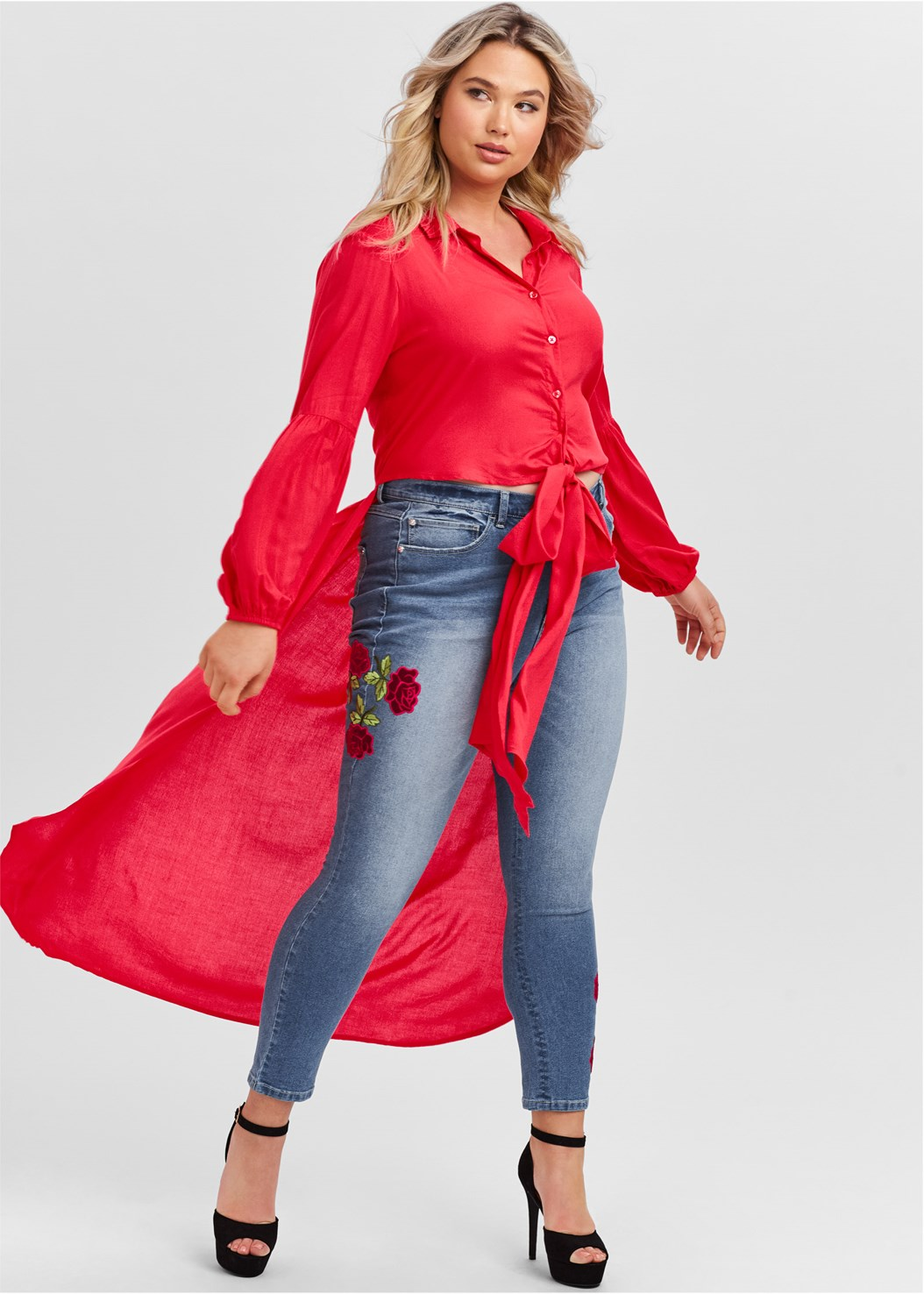 Tie Front High Low Top,Rose Embroidered Jeans,Mid Rise Color Skinny Jeans