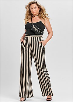 plus size high waisted stripe pant