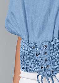 Detail front view Tie Front Chambray Top
