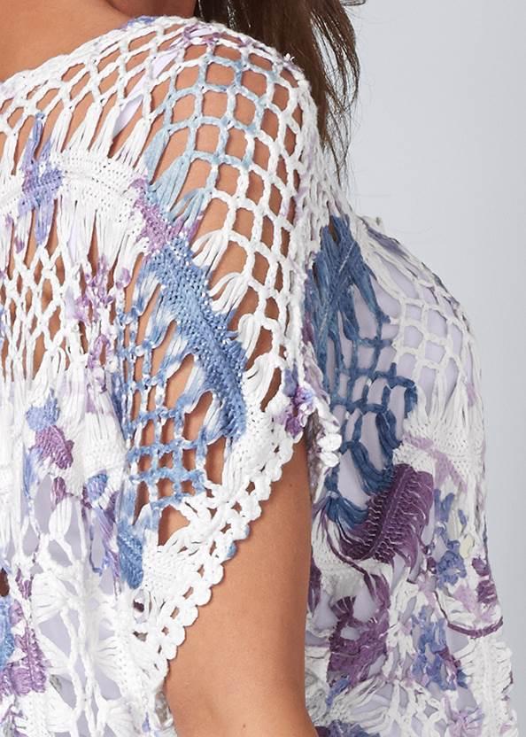 Detail back view Tie Dye Crochet Sweater