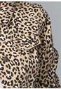 Detail front view Leopard Print Denim Jacket
