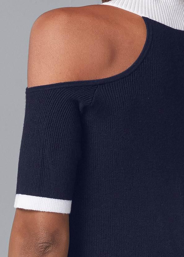 Detail back view V-Neck Cold Shoulder Sweater