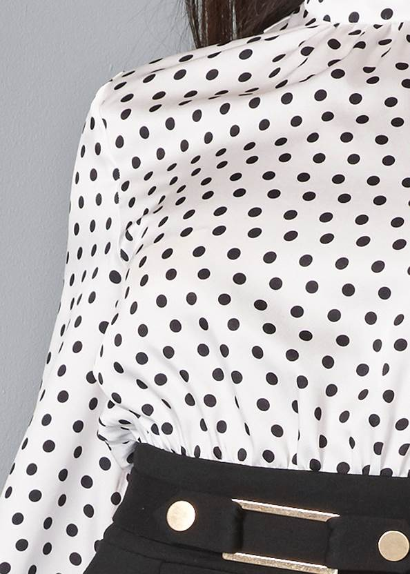 Detail front view Polka Dot Twofer Dress