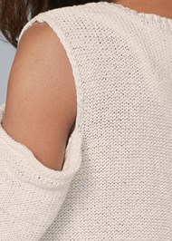 Detail back view Cross Back Fringe Sweater